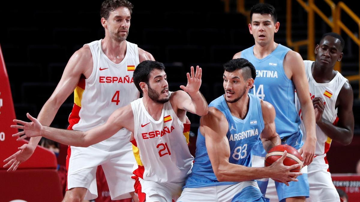 Una imagen del partido España-Argentina de los JJOO