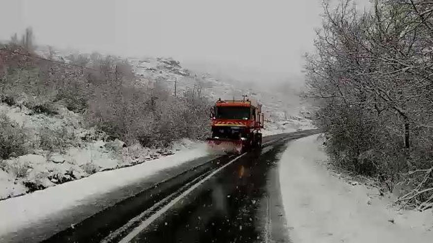 Nieve en Sanabria: Una quitanieves despeja la carretera en La Tejera