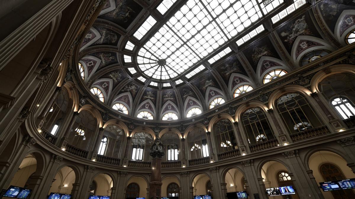 Interior del edificio de la Bolsa de Madrid