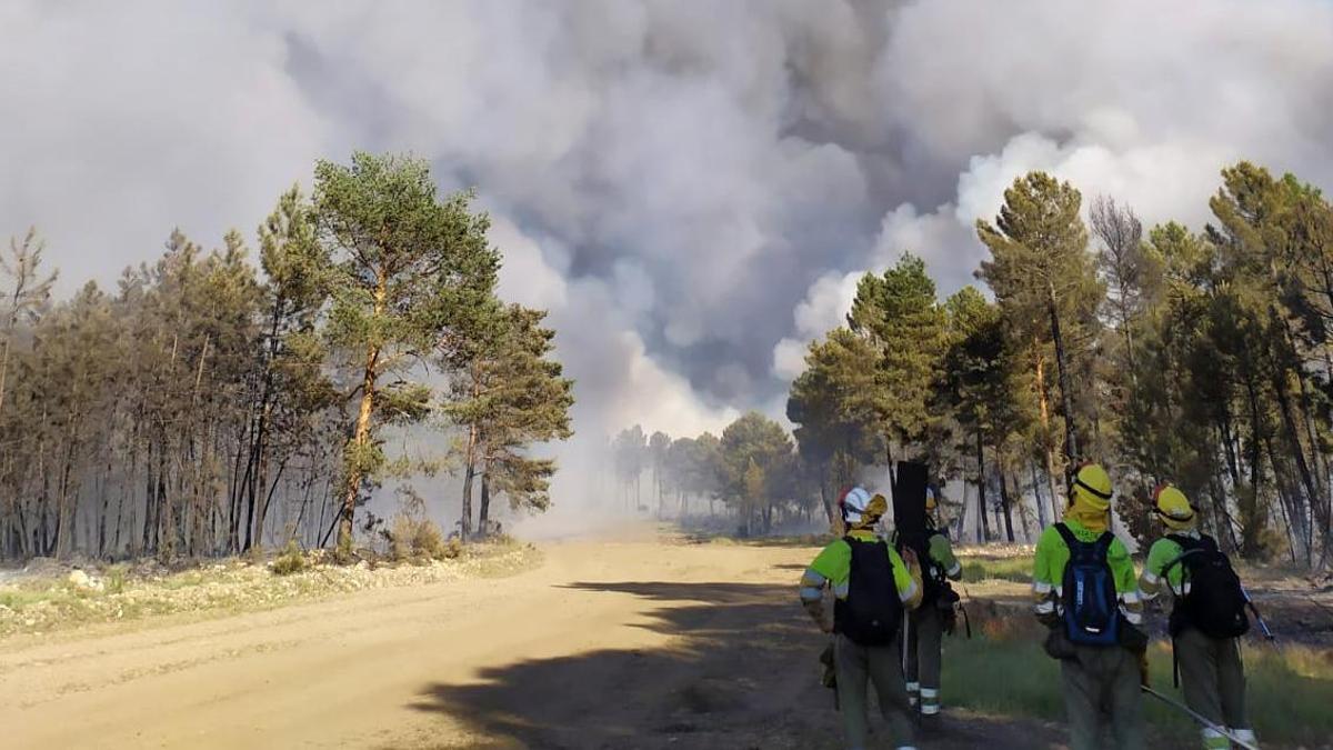 Imagen del incendio de Serradilla del Arrollo (Salamanca).