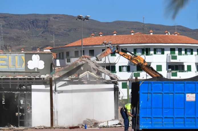 Derribo edificaciones en el Parque Europa de Maspalomas