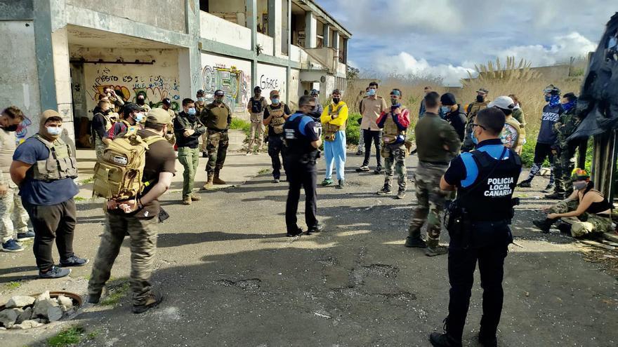 La Policía Local de La Laguna actúa ante un encuentro de paintball