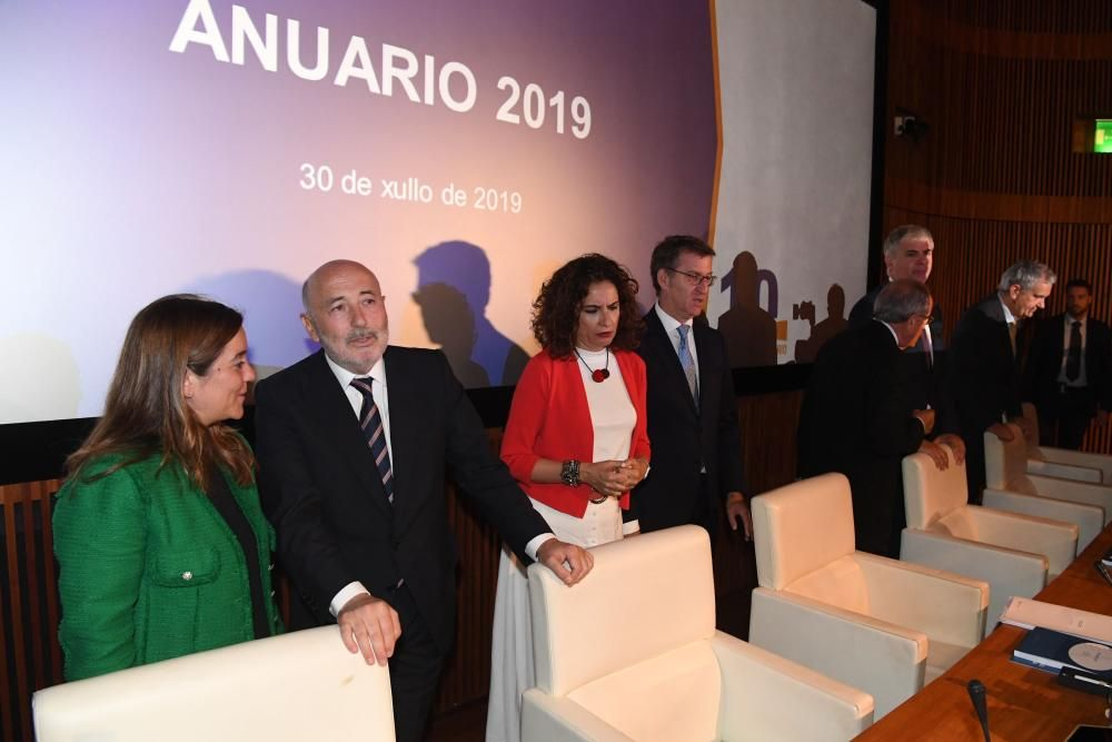 La ministra de Hacienda, Maria Jesús Montero, preside la presentación del 'Anuario 2019' del Foro Económico de Galicia.