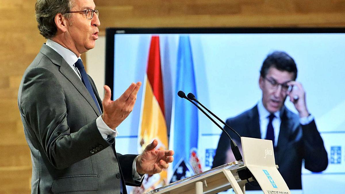 Feijóo, ayer, durante la rueda de prensa del Consello en Santiago. |   // XOÁN ÁLVAREZ