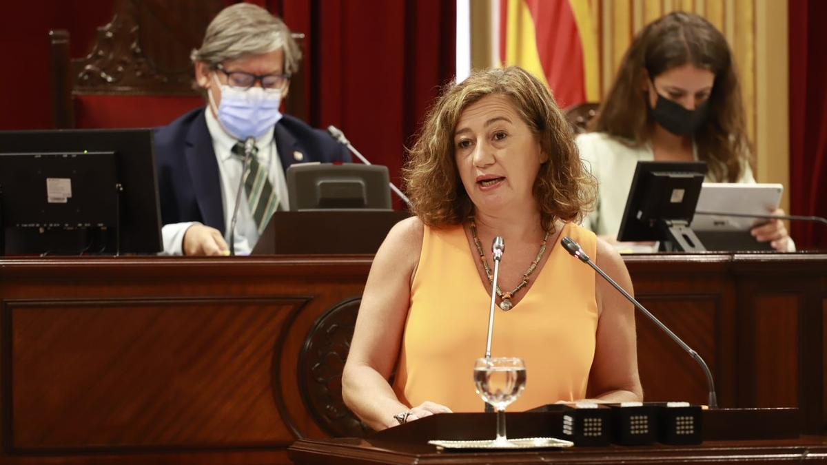 Francina Armengol am Dienstag (14.9.) in der Generaldebatte zur Lage der Region.