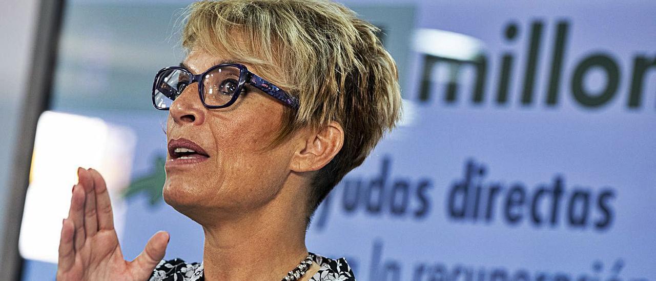 Elena Máñez, consejera de Economía, durante la presentación del decreto regulador de las ayudas directas a empresas.     ACFI PRESS