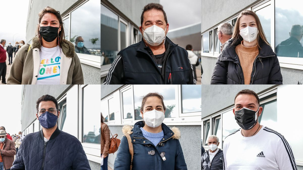 Algunas de las personas de muy alto riesgo frente al covid que esperaban para vacunarse en Cáceres ayer.