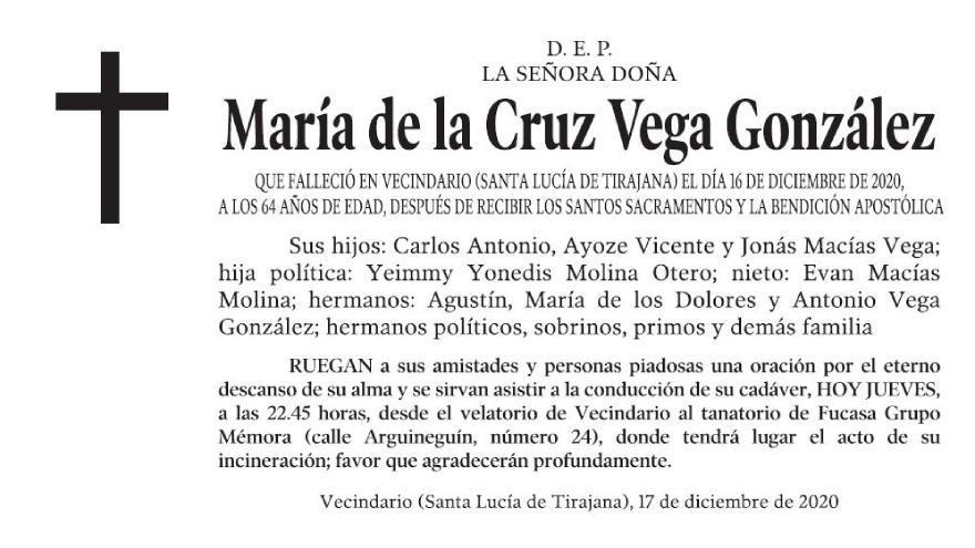 María de la Cruz Vega González