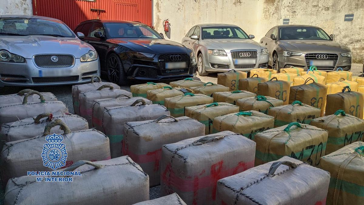 La mercancía encontrada por la Policía Nacional.