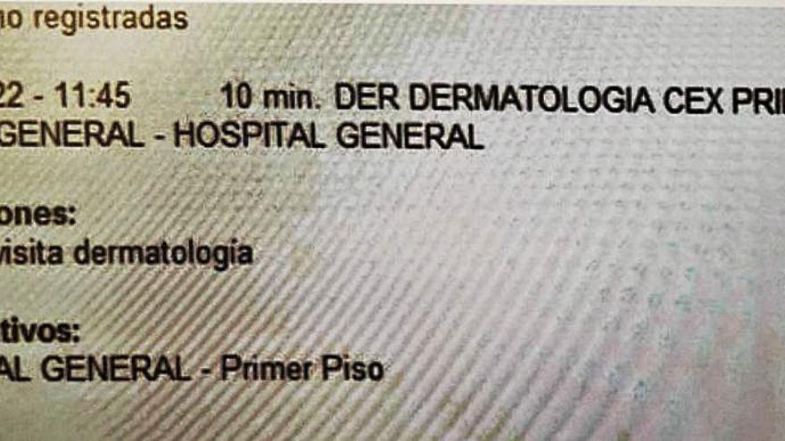 Una cita con el dermatólogo pedida ahora se fija para el 9 de septiembre
