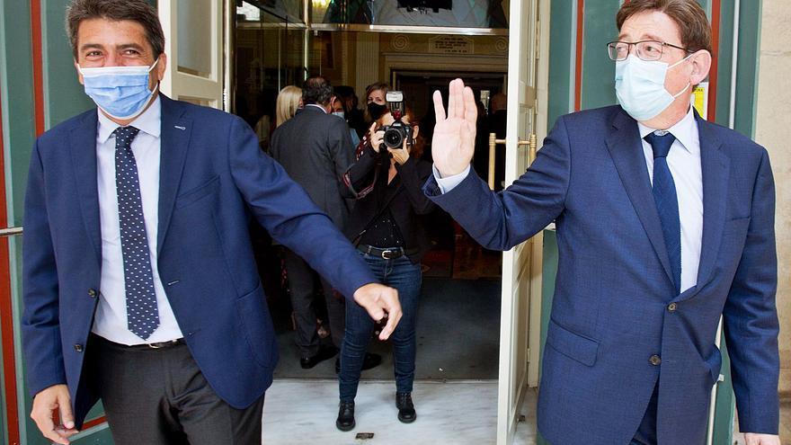 El Consell convoca la mesa bilateral con la Diputación en agosto y en Alicante para que Carlos Mazón no pise el Palau