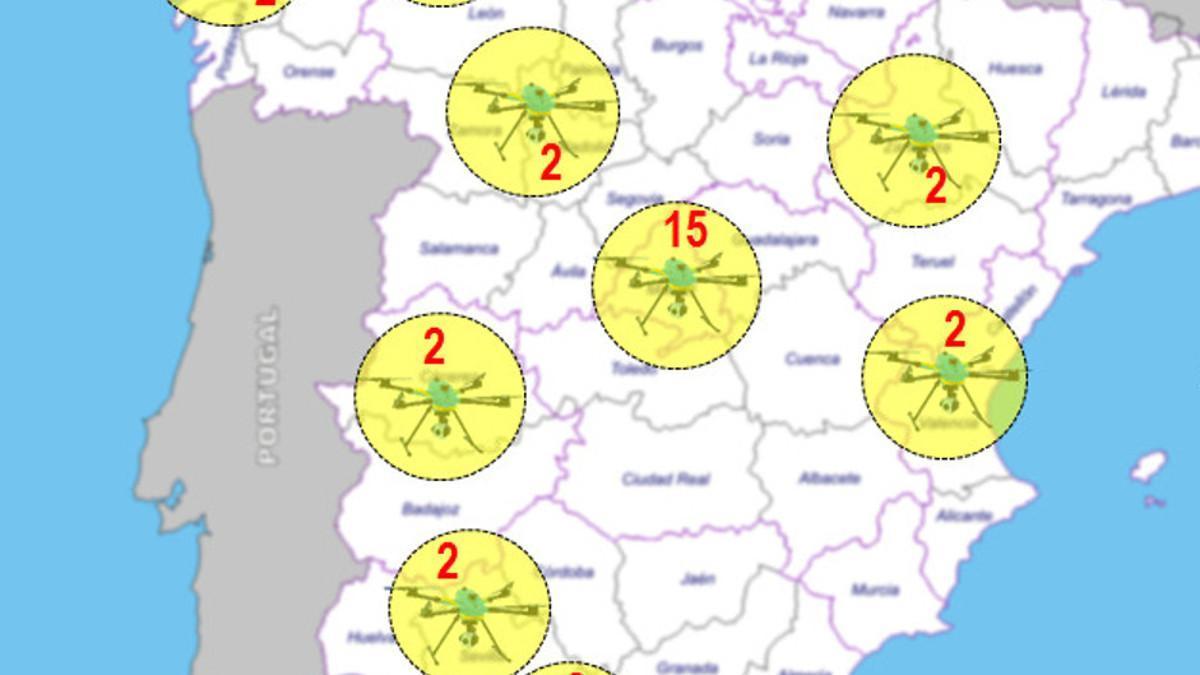¿Por dónde vuelan los 39 drones de la DGT?