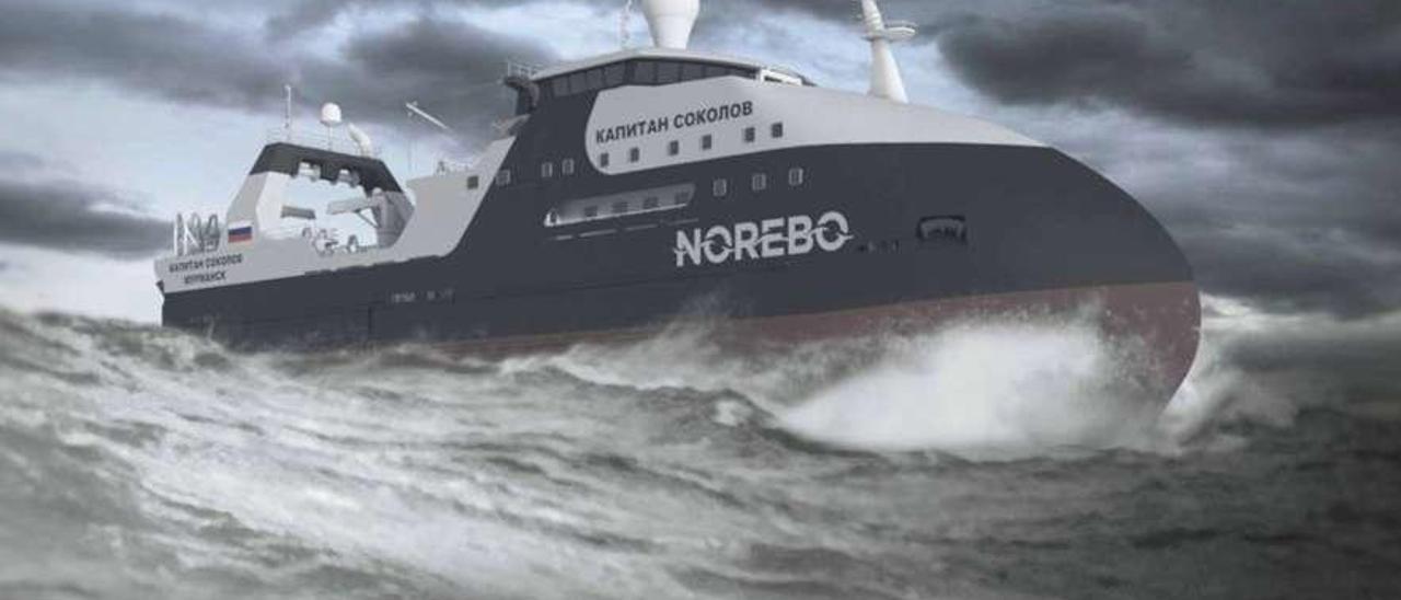 """Recreación del """"Kapitan Sokolov"""", el primero de los 10 barcos que encargó el holding ruso Norebo.  // Norebo"""