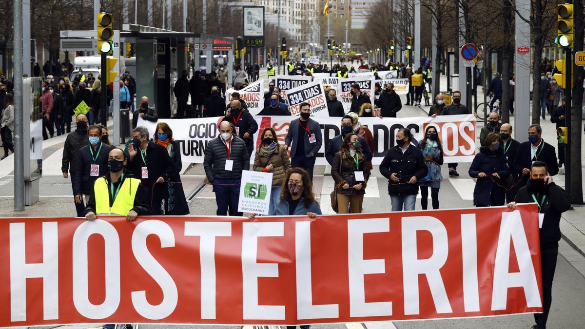Manifestación del sector de la hostelería, en marzo de este año.