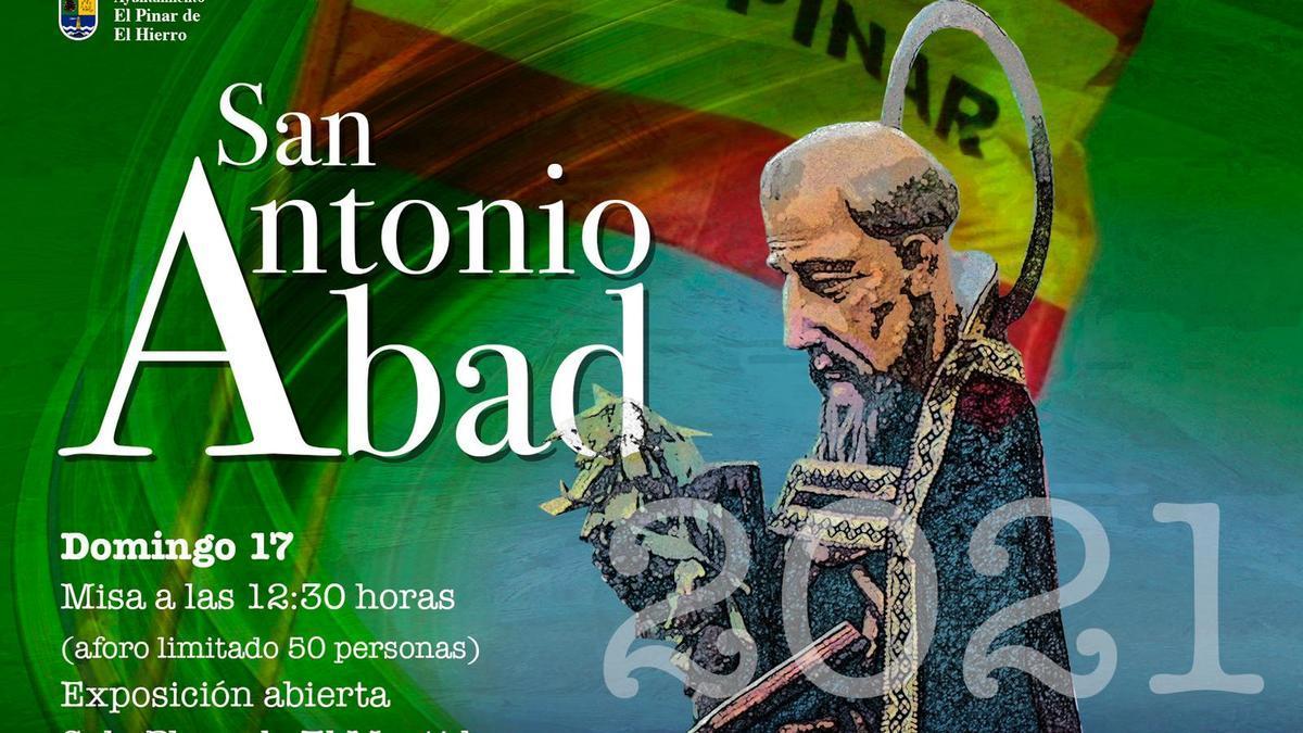 Cartel anunciador de la festividad de San Antonio Abad en El Hierro.