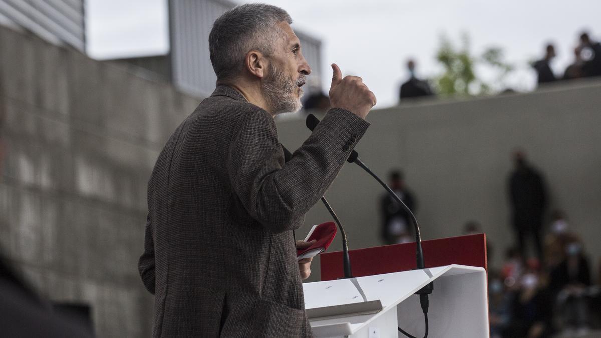 Fernando Grande-Marlaska, durante un acto de campaña en Getafe