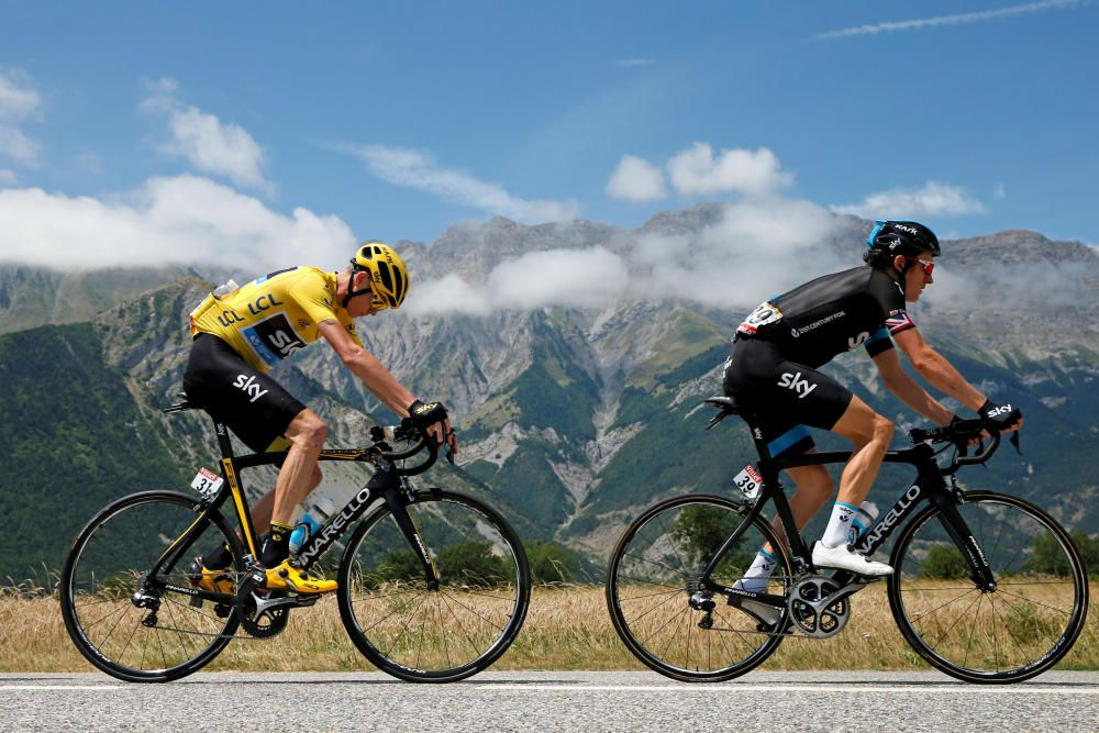 FILE PHOTO: Team Sky riders Geraint Thomas of ...