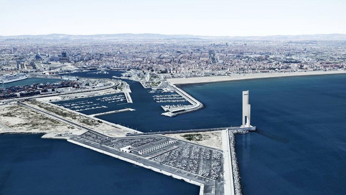 Recreación de la torre eólica en el dique de la bocana de la Marina de València