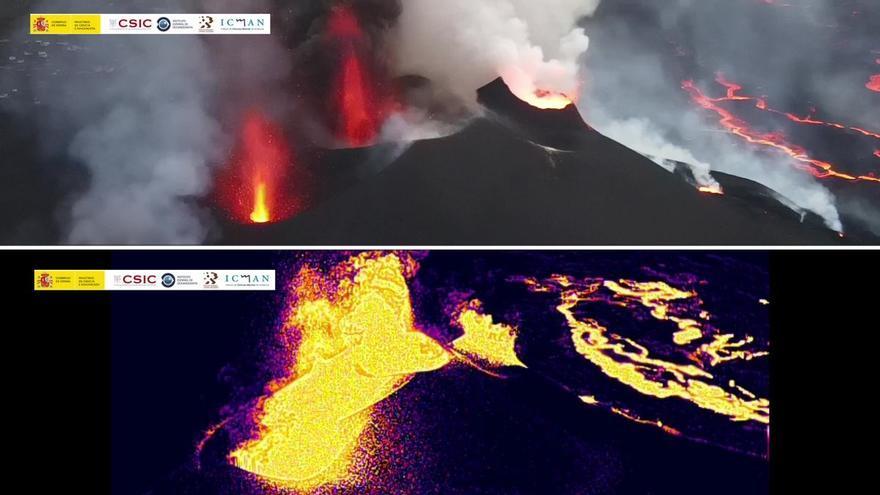 Las bocas del volcán de La Palma como nunca las habías visto, en visión térmica