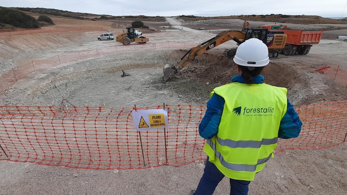Obras del nuevo parque eólico de Forestalia en Campo de Belchite.