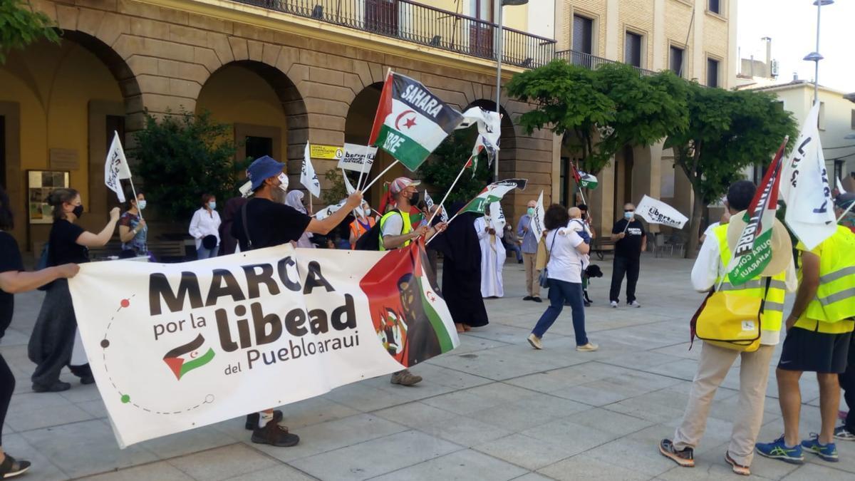 Llegada de la marcha a la localidad riojana de Alfaro.
