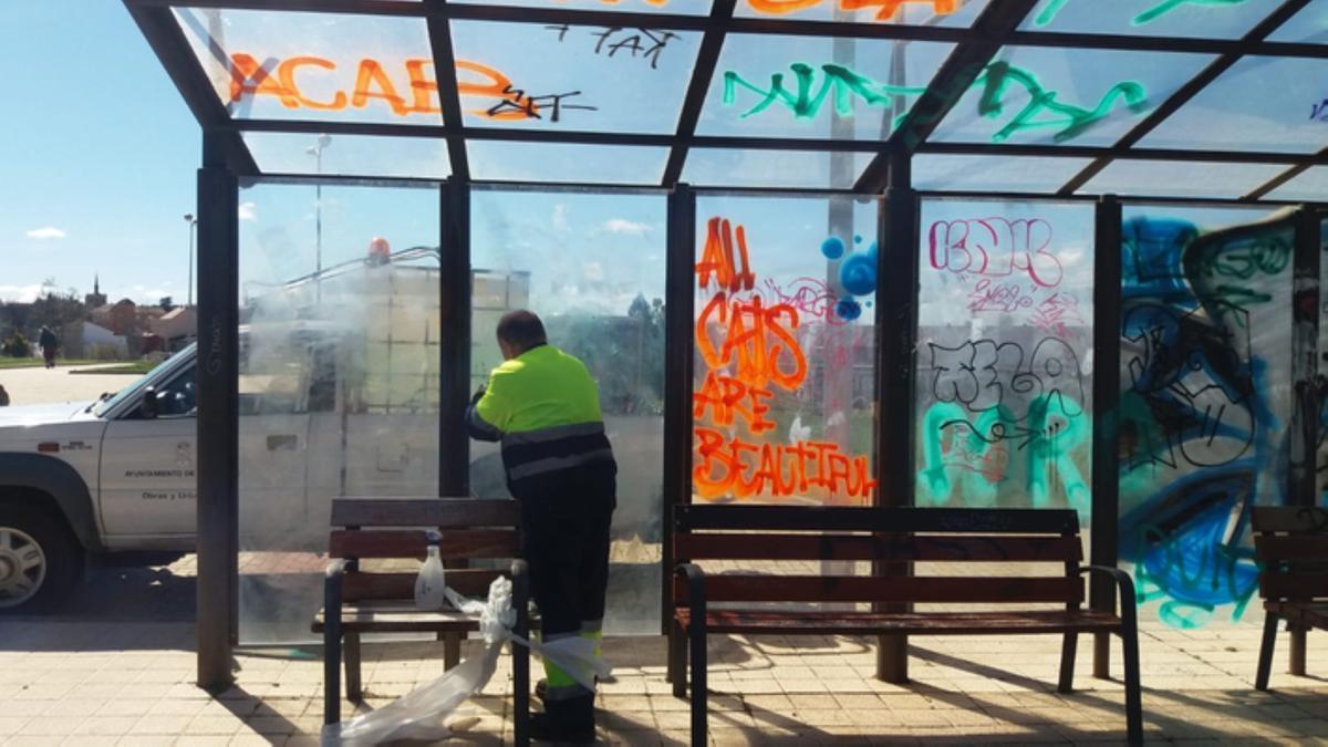 Un operario municipal de Benavente limpiando las pintadas del parque de los Lirios. / E. P.
