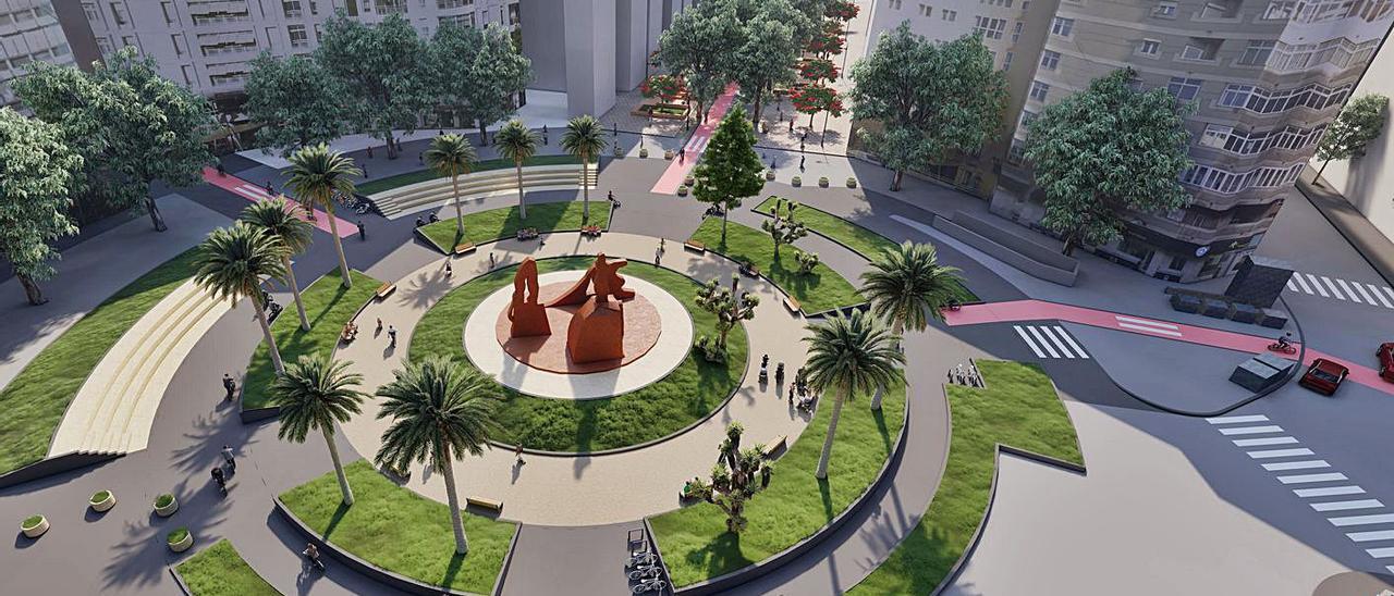 una infografía de la transformación que tendrá la plaza, en la que Mesa y López se ve llena de árboles con un carril bici