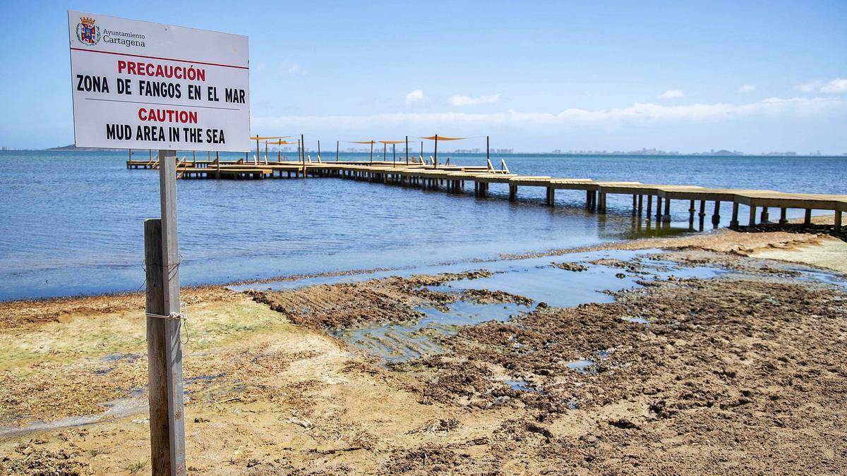 Zona de fangos en la urbanización Estrella de Mar, en Cartagena.