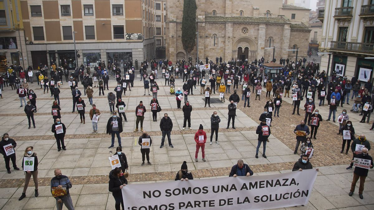 Manifestación de hosteleros en Zamora.
