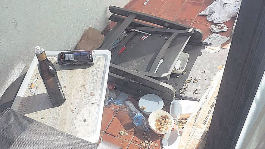 Desperfectos tras el paso de los estudiantes en el Hotel Bellver: Paredes, muebles y espejos rotos