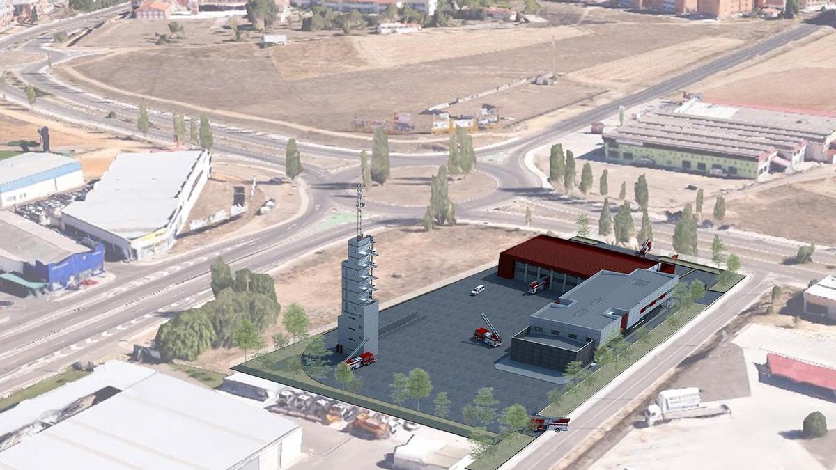 Recreación del nuevo parque de bomberos.