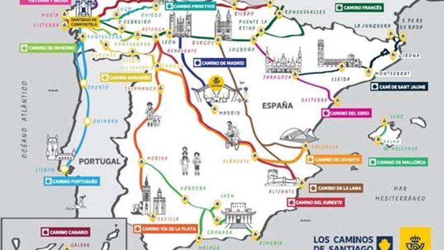 Correos estrena en Zamora las nuevas postales gratuitas sobre rutas del Camino de Santiago
