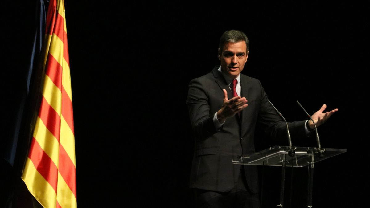 El president del govern espanyol, Pedro Sánchez, en l'acte d'aquest dilluns al Liceu