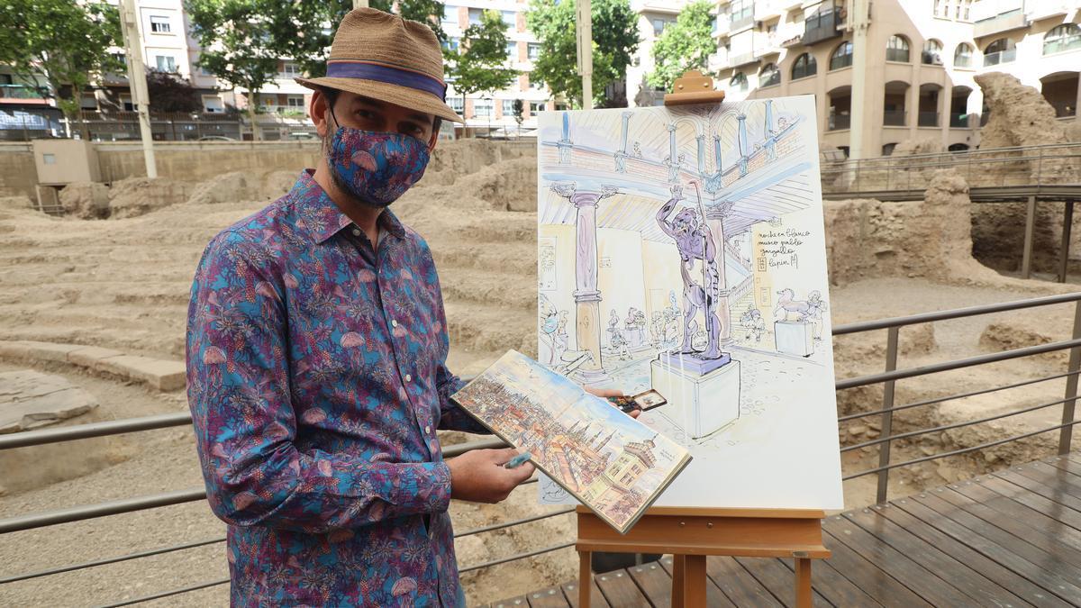 El ilustrador francés Lapin ha presentado este lunes su cuaderno de viaje en Zaragoza.