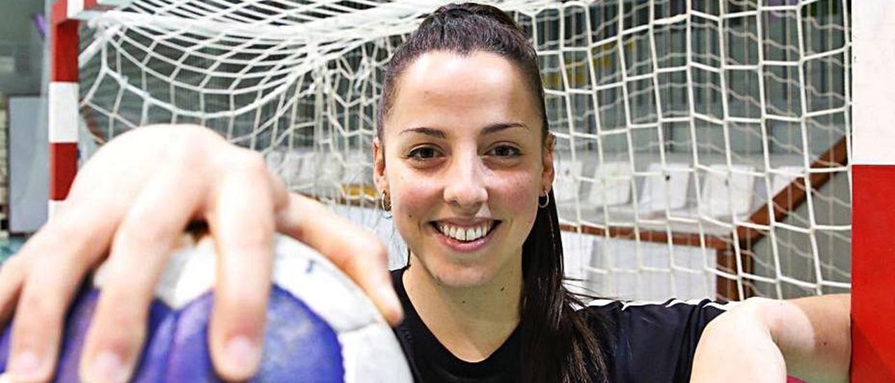 Natalia Montilla antes del entrenamiento de ayer.