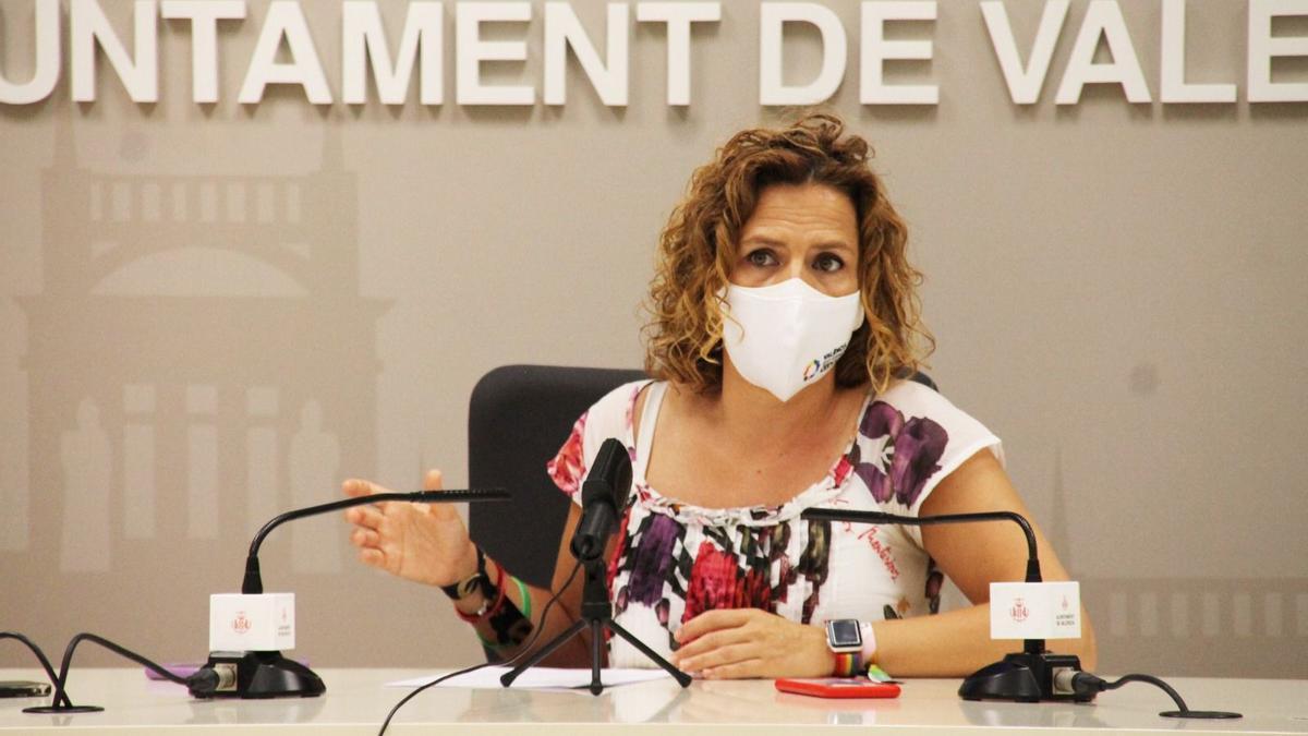 Pilar Bernabé durante la rueda de prensa