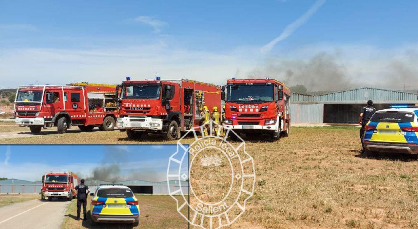 Un incendi crema una nau de l'aeròdrom del Pla de Bages a Sallent