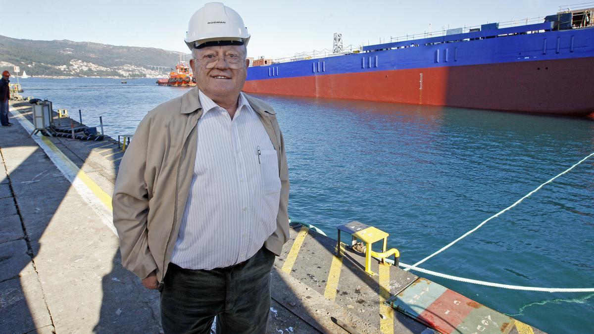Rodríguez, durante la botadura de uno de los buques construidos en Metalships.