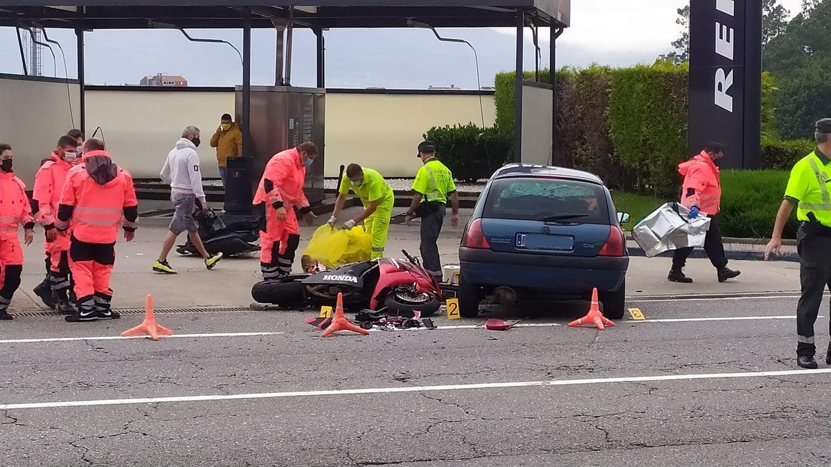 Un motorista muere en una colisión con un coche en Redondela
