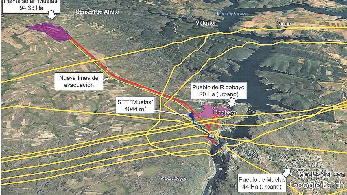 Esquema de las líneas eléctricas existentes en Ricobayo. En amarillo las líneas de alta tensión y en rojo las de baja tensión. Además se representa la ubicación de la planta solar proyectada, así como la línea de alta tensión que la comunicaría con una nueva subestación eléctrica.