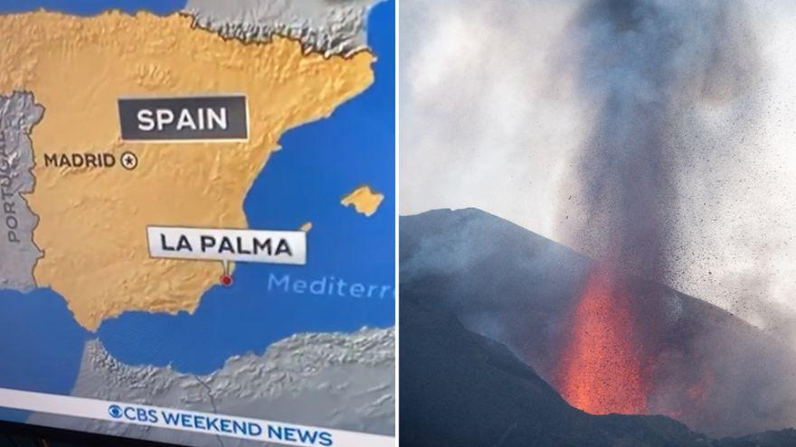 El último error geográfico: una TV de Estados Unidos sitúa en Murcia el volcán de La Palma