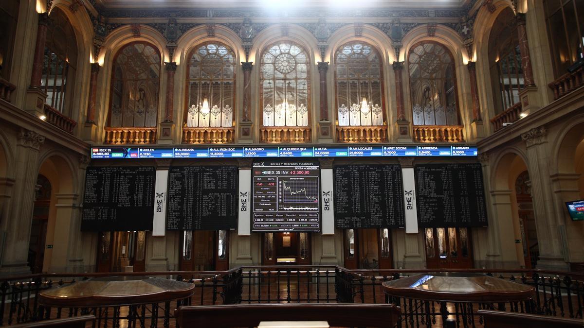 Imagen de la Bolsa de Madrid, que amanece con caídas