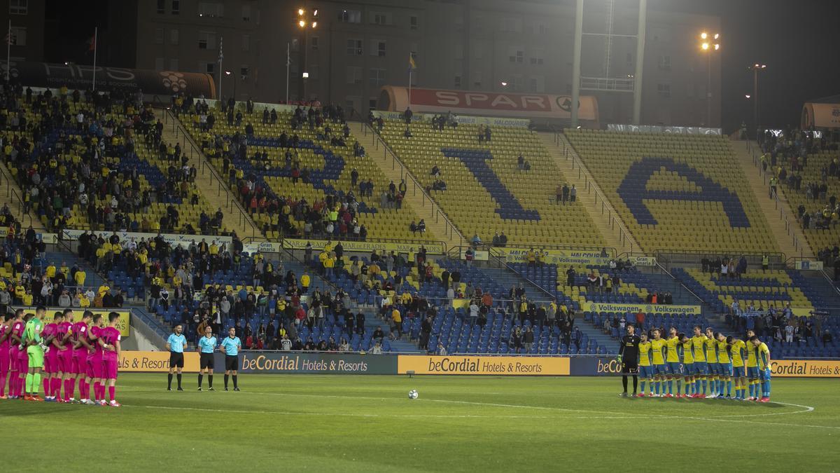El Gran Canaria, en febrero del 2020, ante el Málaga, en el último pulso con aficionados.
