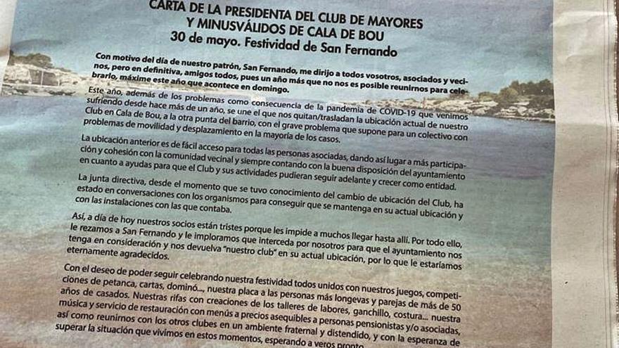 Sant Josep tacha de «desleal» al Consell de Ibiza por un anuncio en prensa que critica el cambio de ubicación del Club de Mayores