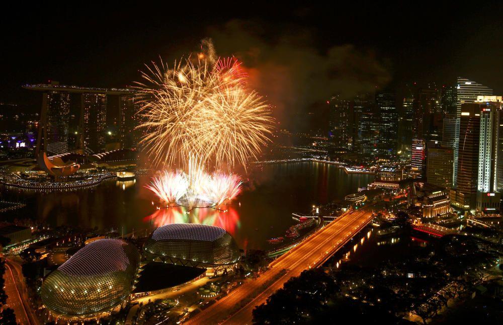 Celebración de fin de año en Singapur.