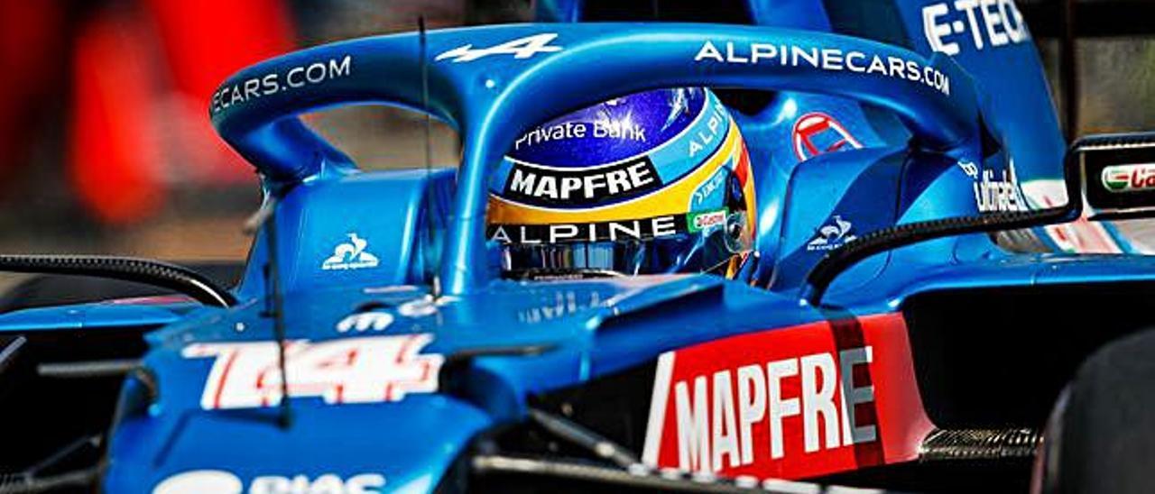 Fernando Alonso, en los ensayos de ayer. |