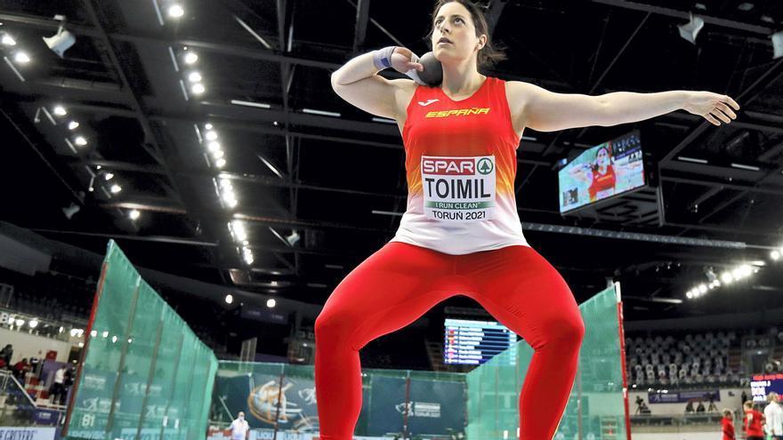 Toimil, justo antes de hacer el lanzamiento que supuso el récord de España. |  // EFE