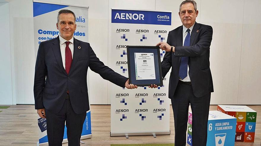 Rafael García, CEO de Aenor, y Félix Parra, CEO de Aqualia. | | E.D.