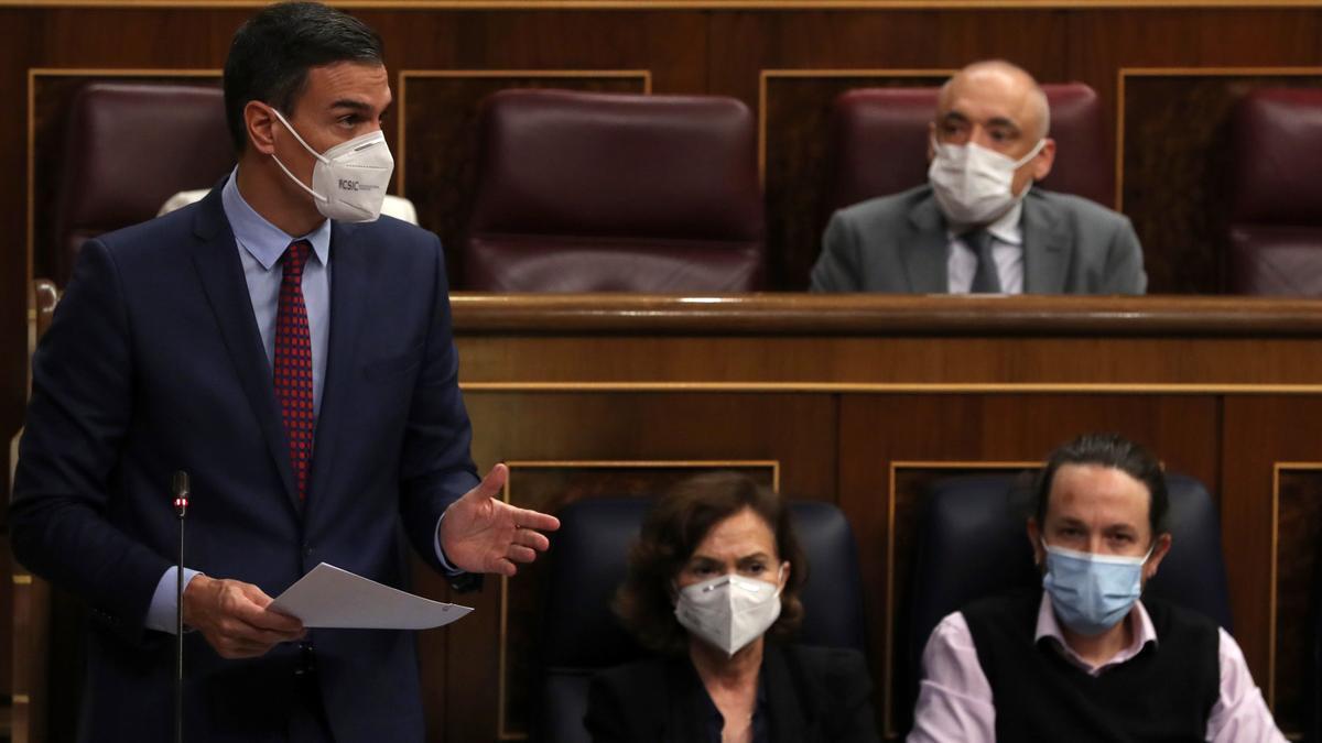 Pedro Sánchez, hoy, en el Congreso de los Diputados.
