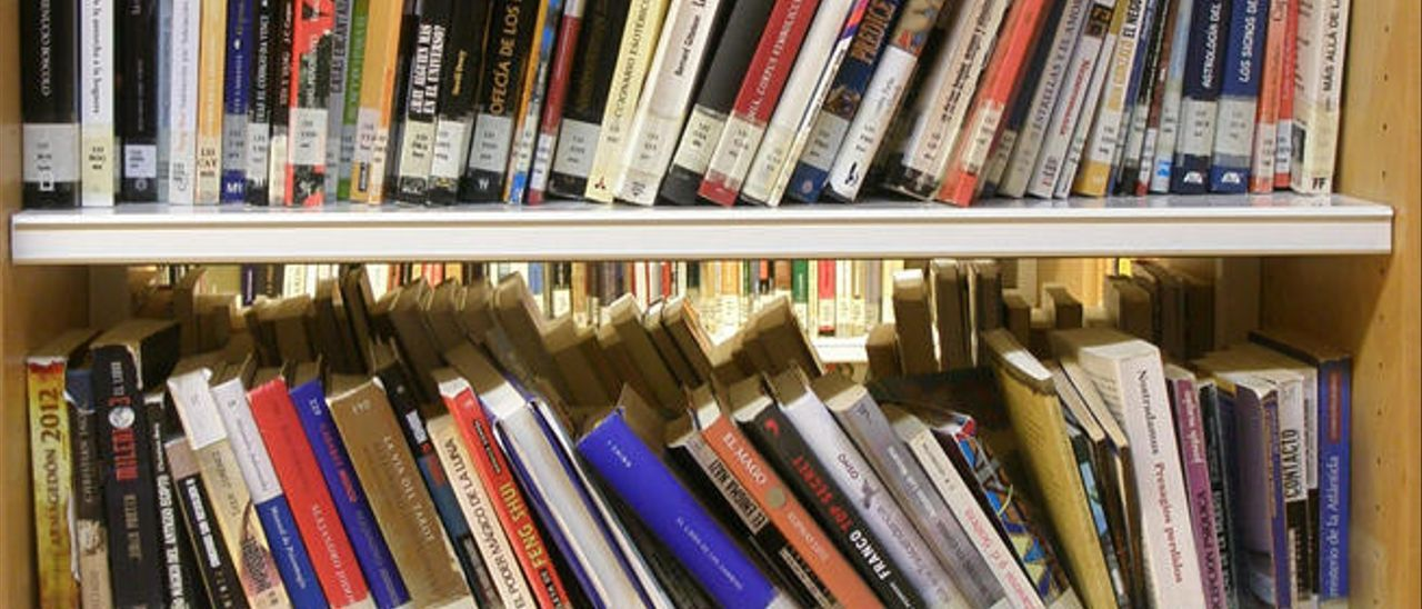 Libros en una biblioteca pública.